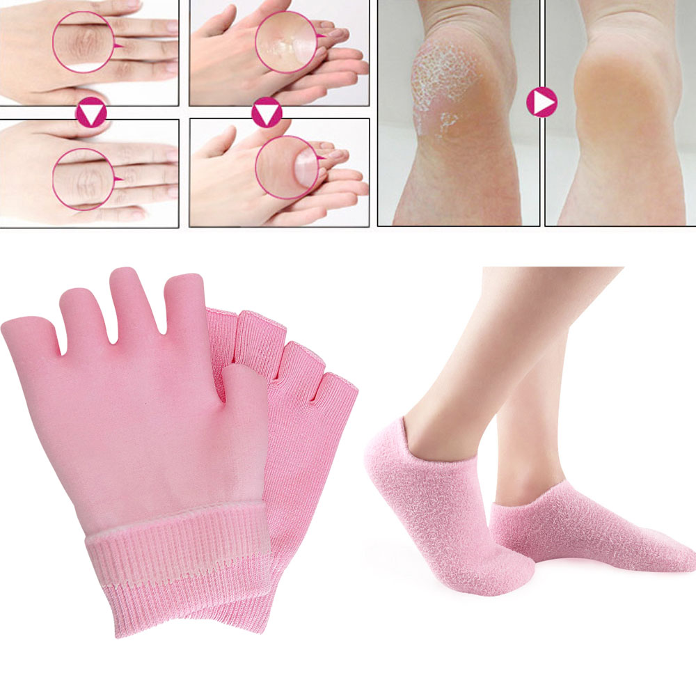 1 Pair Reusable SPA Gel Socks Gloves Moisturizing Whitening Exfoliating Smooth Hands Feet Care For Adult Hand Mask