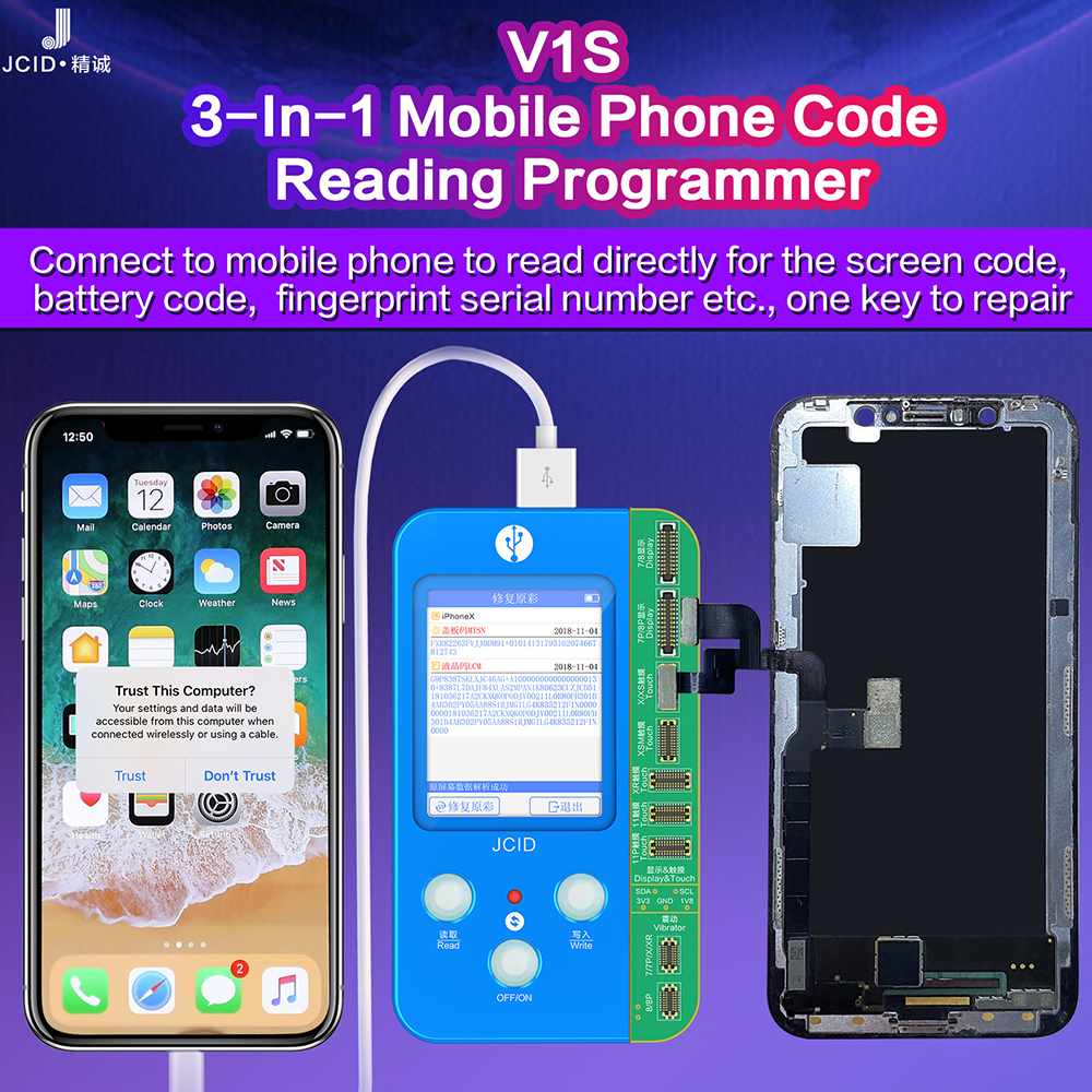 JC V1S V1 Programmer For I7 8 X XR XS MAX 11 Pro Max Photosensitive Original Color Touch Shock Battery Fingerprint Serial Number