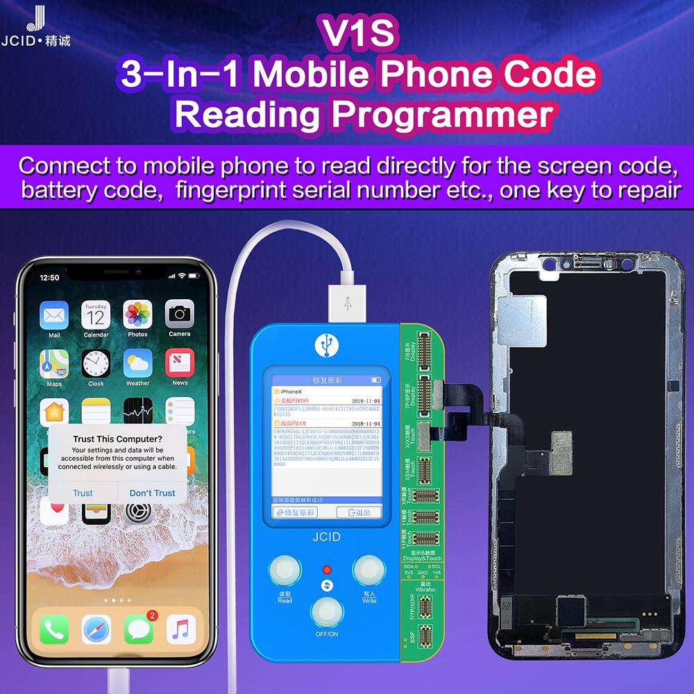 JC V1S V1 Programmer For I7 8 X XR XS MAX 11 Pro Max Photosensitive Original Color Touch Shock Battery Fingerprint Serial Number