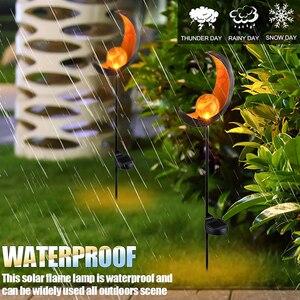 Image 5 - Solar LED Flame Light Waterproof IP55 Retro Iron Garden Lawn Lamp Outdoor Garden Landscape Decor Lighting Sun Moon Angle Flame