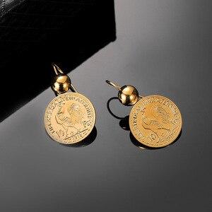 Image 4 - Винтажные висячие серьги подвески с гравировкой монеты для женщин 10 монета Франк круглая серьга Подвеска Серьги Прямая поставка