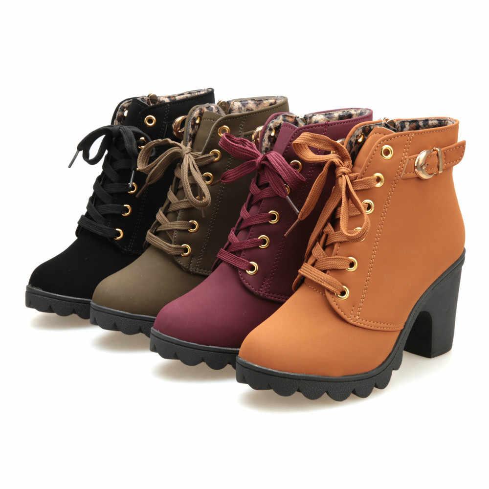 Botas de otoño 2019 botas de tacón alto de moda para mujer botas de tobillo con cordones zapatos de plataforma con hebilla para mujer botas de invierno botas de cuero sólidas para mujer