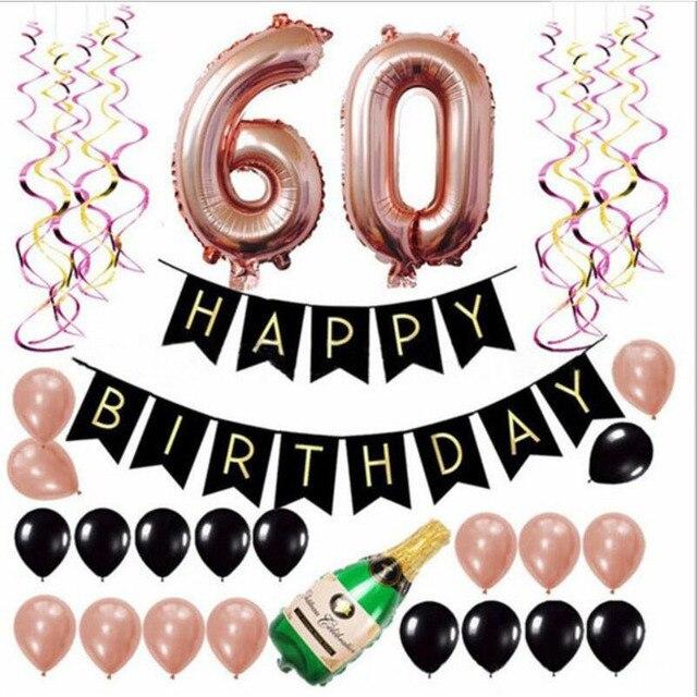 18 21 30 60 cumpleaños decoración para fiesta de aniversario adultos globos hoja número globo Feliz cumpleaños Banner fiesta telón de fondo