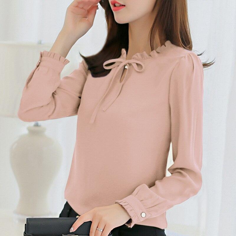 LOSSKY Herbst Frauen Shirt Weiß Langarm Weißes Hemd Koreanische Frauen Kleidung Street Chiffon-Bluse Elegante Frauen Blusa Tops