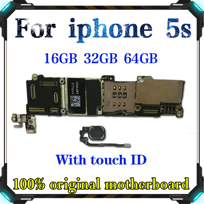 Buy 16GB 32GB 64GB Mainboard For Original iPhone 5S Motherboard Factory Unlock With/Without Touch ID Full Function IOS Logic Board for only 32.2 USD
