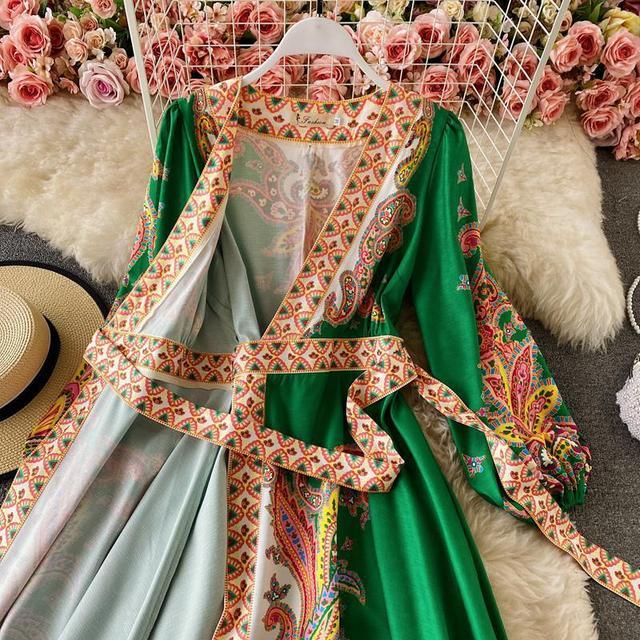 Elegant Dress Court Style Retro Fashion Outwear Printing Bubble Sleeve Temperament Fashion Dress Women V-neck Hit Color Vestidos 4