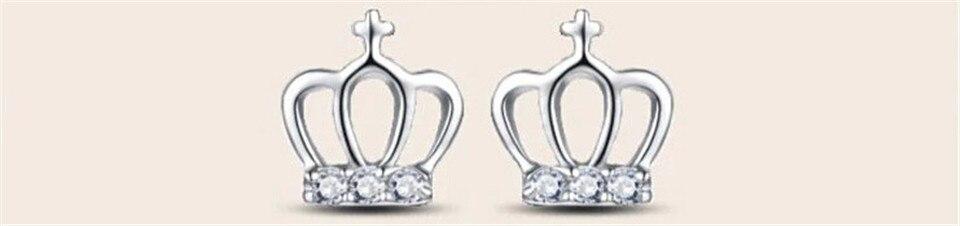 b PISSENLIT Simple Women Jewelry Statement Silver Crown Stud Earrings pendientes mujer moda 2019 Metal Grace Stud Earring Gifts
