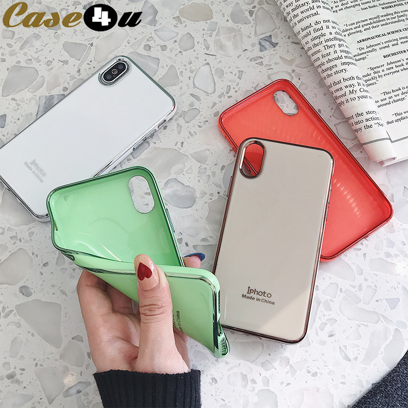 Luxury Soft TPU Silicone Rubber Case For iPhone 10 X XS MAX XR 8 8Plus 7 7Plus 6 6s Plus Bling Plating Mirror Cover accessories(China)