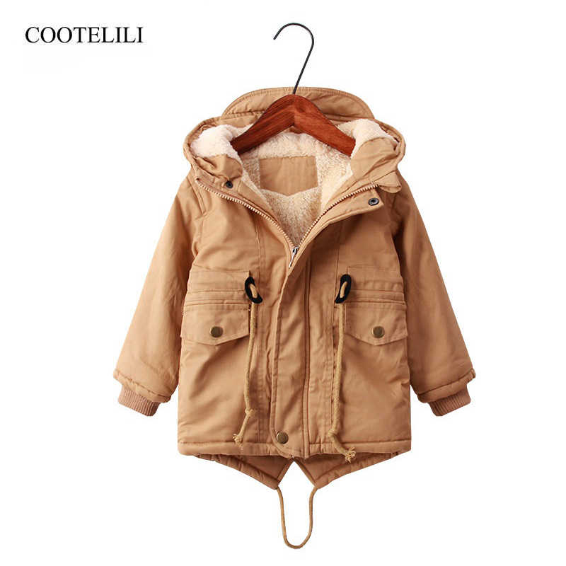 COOTELILI Velvet Parka Winter Jacket For Boys Coat Fashion Children Boys Winter Clothing Fleece Warm Winter Outerwear