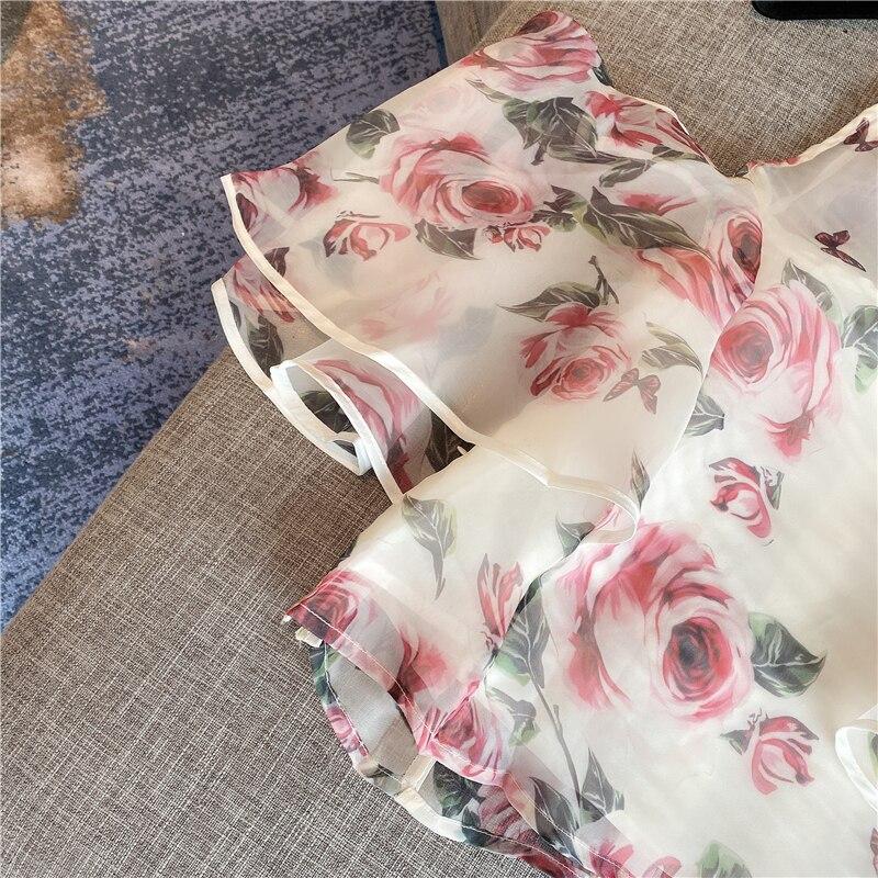 Flower Shirt Woman 2020 Spring and Summer New Temperament Ladies Sexy Strapless Shirt Printing Organza Chiffon Shirt Female Tops
