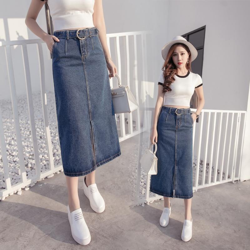 2019 Summer Wear New Style Korean-style Cowboy Slit Lace-up Slim Fit Versatile Fashion One-step Skirt Medium-length Dress Women'