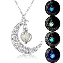 Fashion Glowing Stone Pendant Necklace for women girls Moon Water Drop Silver Plated Chain  charm Dress Jewelry