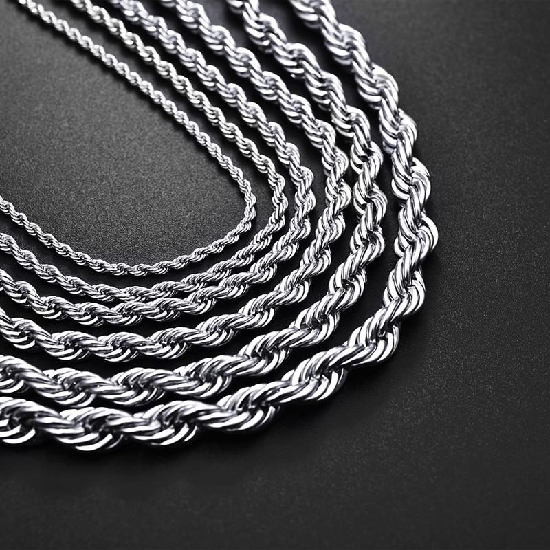 Image 4 - Jiayiqi 2mm 7mm Rope Chain Necklace Stainless Steel Never Fade 