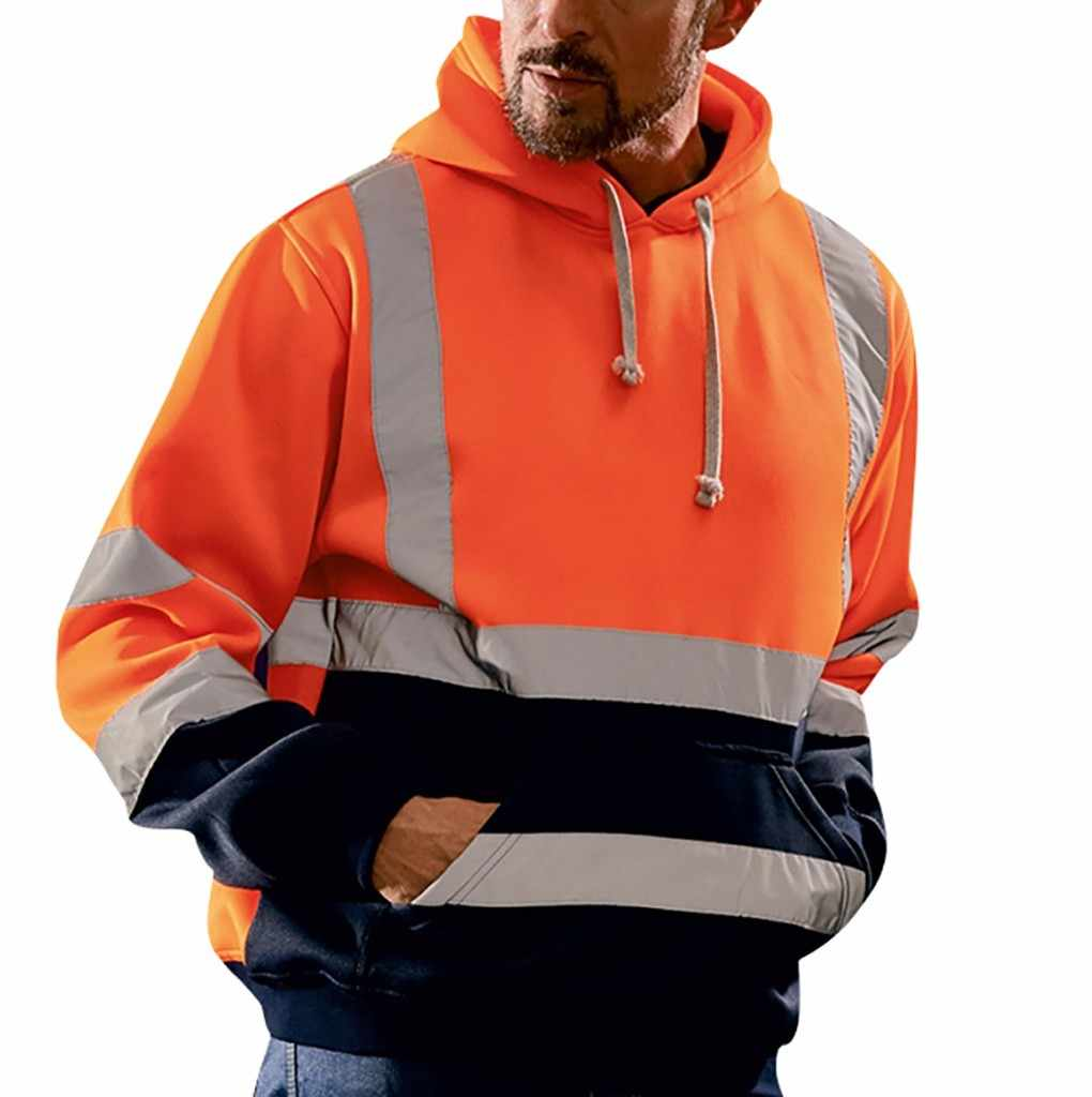 Mens Road Work 높은 가시성 풀오버 스트라이프 루즈 후드 티셔츠 탑스 streetwear hoodies sweatshirts 2019 #35