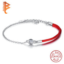 Pure 925 Sterling Silver Bracelet for Women Crystal Round Charm Bracelets Lucky Red Thread Rope Chain Bracelet Female Jewelry(China)