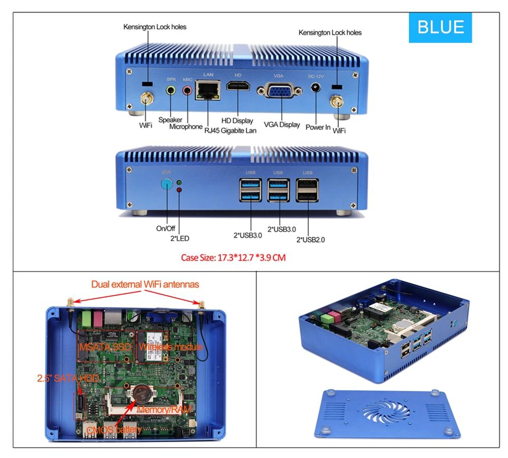Image 5 - EGLOBAL Fanless Mini PC Intel i5 7200U i3 7100U DDR4 DDR3 Nuc Computer Linux Windows 10 Pro 1*mSATA 1*2.5''SATA 4K HTPC HDMI VGA-in Mini PC from Computer & Office