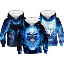4-14 Years Boy Hoodies Autumn 3D Thunder Skull Wolf Fox Teenagers Sweatshirt For Boys Christmas Halloween Gift Children Coat