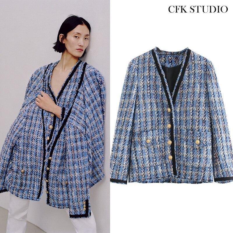 Женское твидовое пальто Za, свободная синяя куртка оверсайз, верхняя одежда, лето 2020|Пальто| | АлиЭкспресс