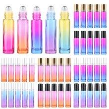 5 adet 10ML/5ML degrade renk kalın cam rulo uçucu yağ boş parfüm şişeleri rulo top seyahat kullanımı malzeme