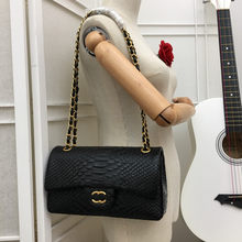 Fashion new female bag snake pattern with red inner chain bag can be single shoulder or crossbody bag