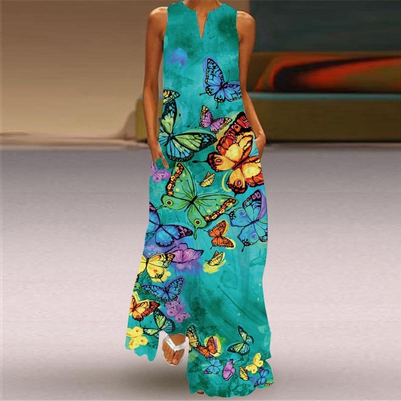 MOVOKAKA New White Dress 2021 Casual Plus Size Sleeveless Long Dresses Summer Woman Butterfly Print Girls Beach Maxi Dress Women 2