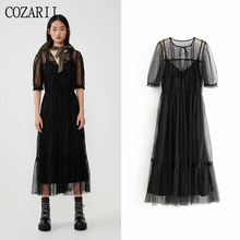 COZARII summer dress women vestidos casual style dot O-Neck half sleeve de fiesta party tops plus size