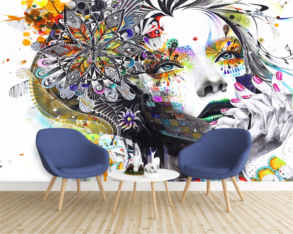 Beibehang Custom Modern Classic Hand Drawn Sketch Personality Abstract Avatar Mural Background Wallpaper Wall Papers Home Decor
