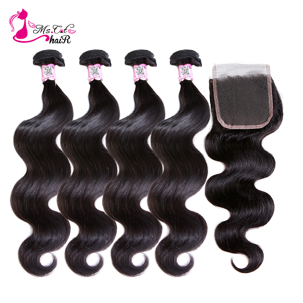 Ms Cat Hair Peruvian <font><b>Body</b></font> <font><b>Wave</b></font> <font><b>With</b></font> <font><b>Closure</b></font> 5 Pcs/Lot Remy Hair Weave Natural Color 8
