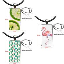 Flamingos Flowers Plants Fruit Cactus For Women Necklace Fashion Long Chain With Rectangle Necklace Jewelry(China)