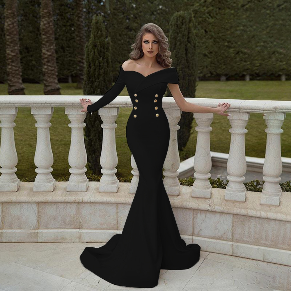 Solid color double-breasted dress one-shoulder unilateral cuff bag hip fishtail banquet women's evening dress