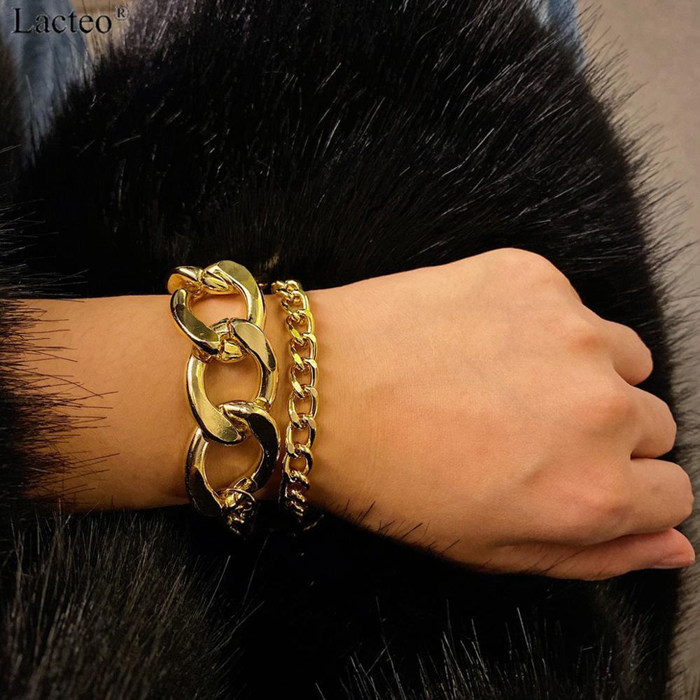 Lacteo Punk 2Pcs/set Thick Chunky Chain Bracelet Bangle Women Hip Hop Cross Chain Charm Bracelet Statement 2019 Fashion Bracelet