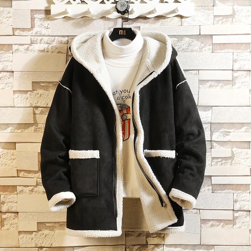 Bomber  Jacket Men Winter Thick Warm Fleece Teddy Coat For Mens SportWear Tracksuit Male Fluffy Fleece Hoodies Coat