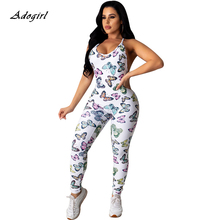 Elegant Butterfly Print Sexy Cross Spaghetti Strap Backless Rompers Women Jumpsuit Sleeveless Casual White Legging Jumpsuits fashionable ethnic style print spaghetti strap jumpsuit for women