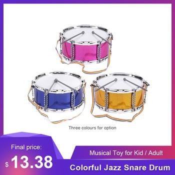 Kolorowy Jazz werbel zabawka muzyczna bęben przenośny Instrument perkusyjny z pałeczki do perkusji pasek dla dzieci dzieci prezent na boże narodzenie tanie i dobre opinie Other 5-drum kit 11 4 * 5 3in Wielofunkcyjny all-in-one typu 10 cal Jazz Snare Drum