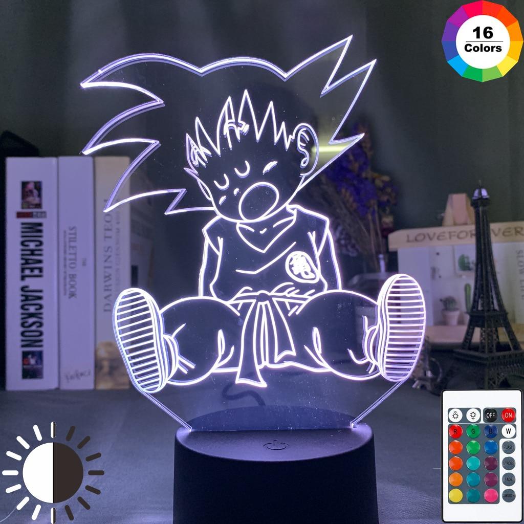 Led Night Light Baby Goku Sleep Figure Night Light for Bedroom Decoration 16 Colors Changing Usb Table 3d Lamp Dragon Ball Gift(China)
