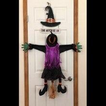 Столкновение ведьмы в дерево Хэллоуин украшение дверь крыльцо дерево украшение реквизит столкновение ведьмы-уличные декорации на Хэллоуи...
