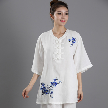 Traditional Chinese Clothing Wushu TaiChi Suit Uniforms Cotton Linen KungFu Exercise Clothing Embroidery Taiji Practice Suit