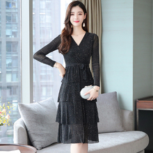 S-XXL Long Sleeve Sequin Dress Women Korean Style Black Elegant Autumn Winter Sexy V Neck Cascading Ruffle Robe Femme 2019