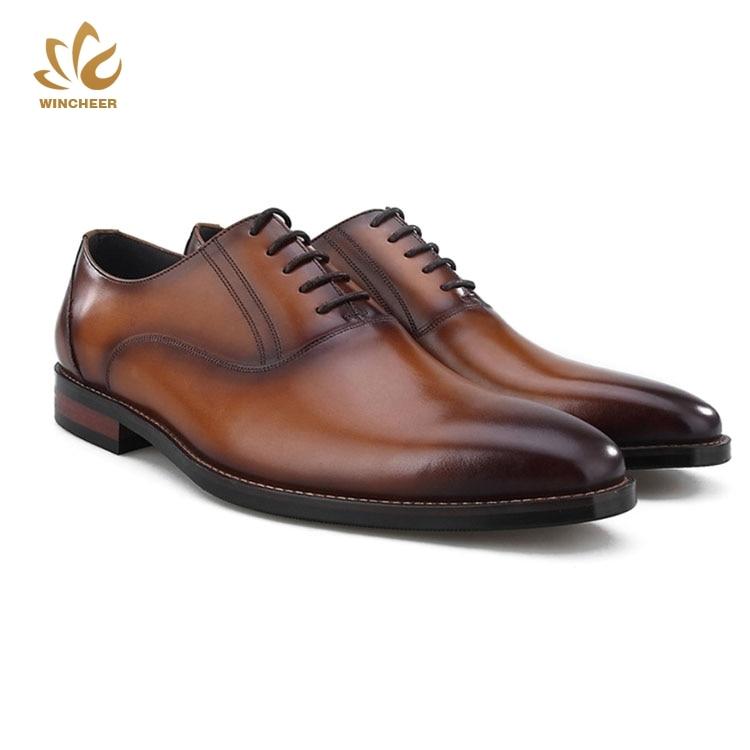 Wincheer 2019 OEM custom logo multiple colour fashion business classic black dress shoe leather formal men shoes custom design