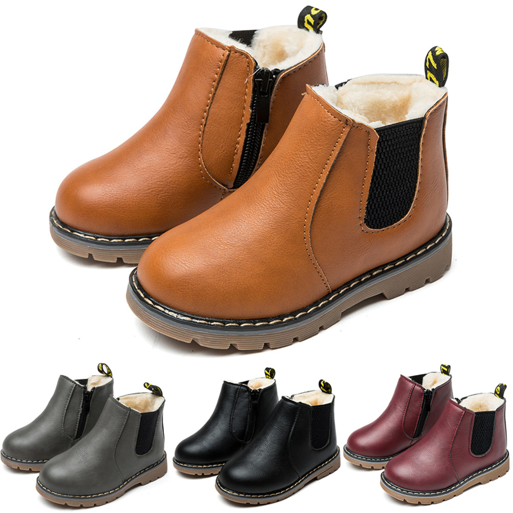 SITAILE Warm Winter Boots Girls Leather Boots Boys Shoes Spring Autumn PU Leather Children Boots Fashion Toddler Kids Boots