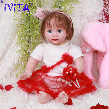 IVITA DS1803 47cm 18.5inch handmade realistic silicone Vinyl reborn baby doll with planted hair lifelike girl toys for kids gift