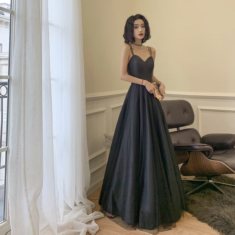 AE518 2019 Black   Evening     Dress   Long Formal   Dresses   abendkleider Prom Party   Dress   Vestido de fiesta rode de soiree
