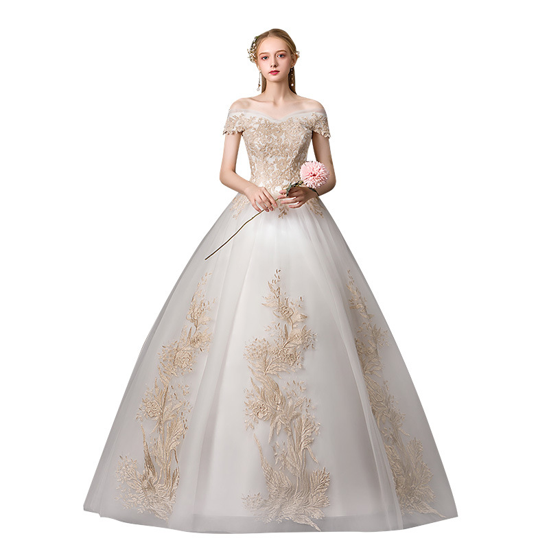 Sexy Boat Neck Off The Shouldrer 2019 New Wedding Dress Elegant Lace Embroidery Simple Princess Wedding Gown Robe De Mariee