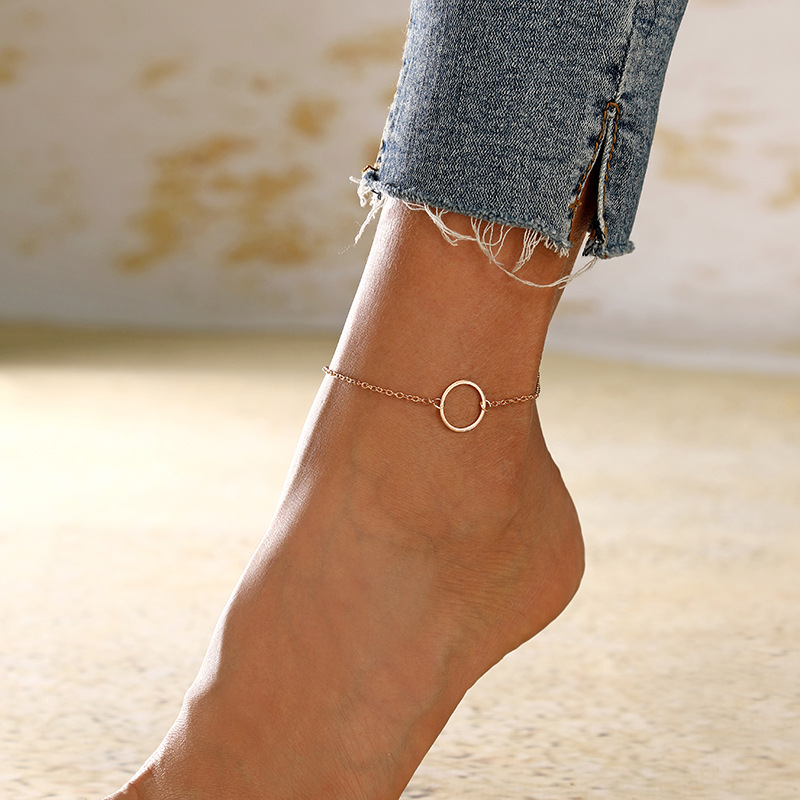 Minimalist Simple Geometric Circle Anklets Summer Beach Bracelet Ankle on The Leg for Women Foot Accessories
