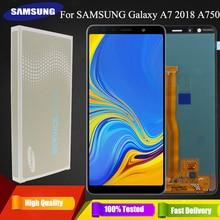 SUPER AMOLED 6.0 LCD สำหรับ SAMSUNG Galaxy A7 2018 SM A750F A750F A750 จอแสดงผล LCD Touch Screen Digitizer ASSEMBLY