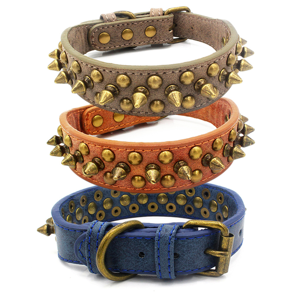 Berry New Style Bronze Bullet Pet Collar Leather Rivet Anti-Bite Neck Ring Punk Small, Medium And Large Dog