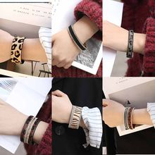 Original New Trend Woman Leather Bracelet Horse Hair Leopard Tiger Pattern Print Lady Leather Luxury Magnetic Buckle Bracelets(China)
