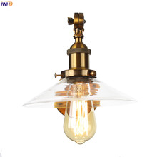 IWHD Loft Decor Glass Gold Wall Lamp Bedroom Porch Stair Sing Long Arm Industrial Vintage Retro Wall Light Fixtures Wandlamp LED rh american country vintage wall lamp lights fixtures glass ball retro loft industrial wall sconces wandlamp arandela de parede