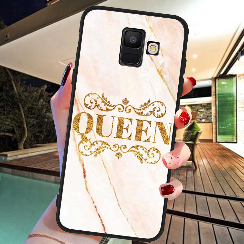 Kral kraliçe mermer lüks Samsung Galaxy A9 A8 A7 A6 A5 A3 J3 J4 J5 J6 J8 artı 2017 2018 M30 A40S A10 A20E telefon kılıfı kapak