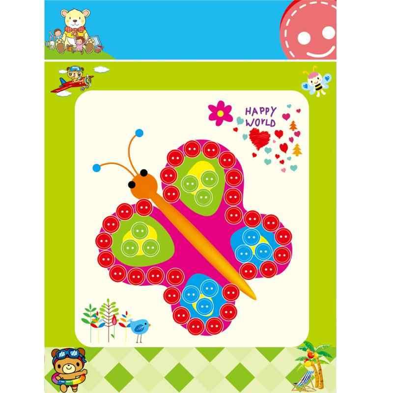 Diy botão adesivos imagem crianças pintura artesanal desenho artesanato kit novidade crianças presentes traçado desenho placa aleatória